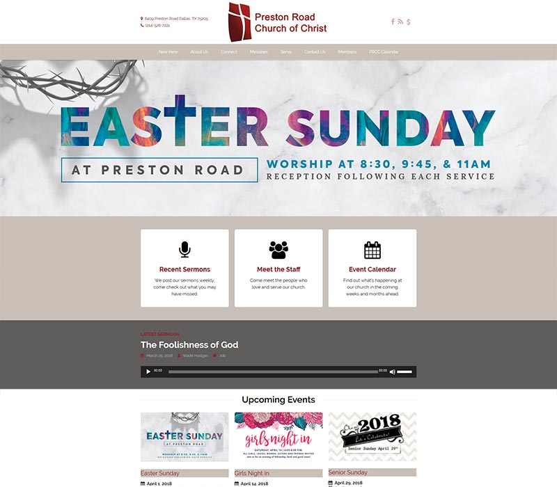 New Site Launched Preston Road Church Of Christ Pca Web Design Hosting